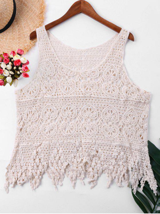 latest Sleeveless Crochet Cover Up Top - APRICOT ONE SIZE