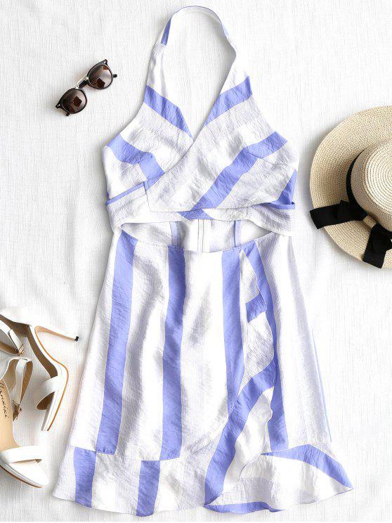 فستان مخطط عارية الظهر كشكش ذو فتحات - شريط M