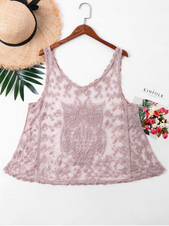 trendy Embroidery Sleeveless Mesh Cover Up Top - PINK ONE SIZE