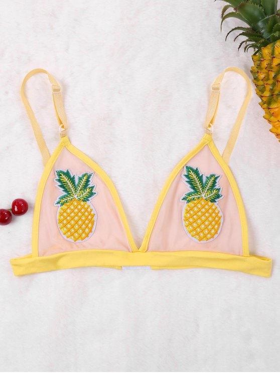 42c5cdca29703 19% OFF  2019 Pineapple Patched Mesh Bralette In YELLOW