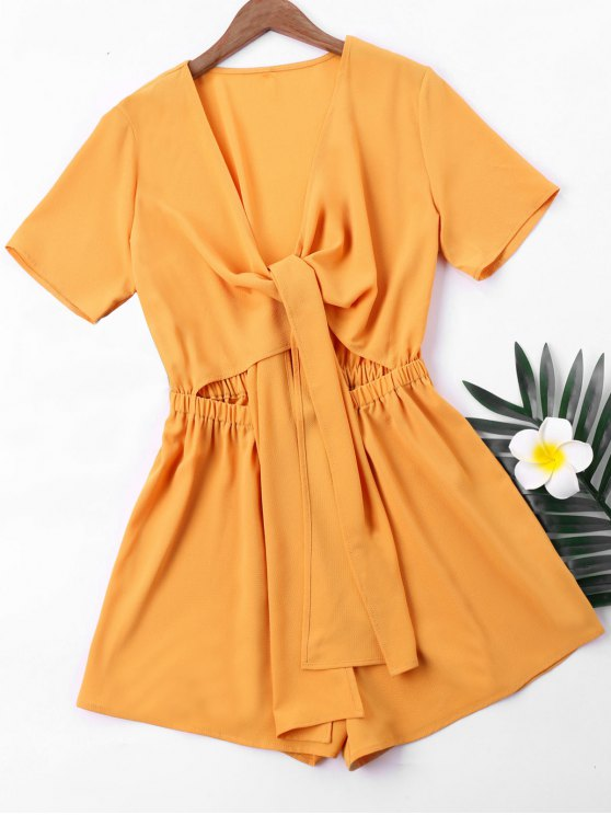 online Short Sleeve High Waist Romper - GINGER L