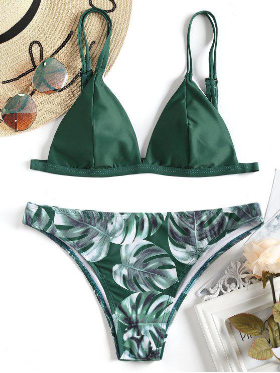 Cami Palm Leaf Print Bikini - GREEN S