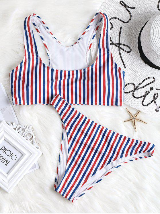 lady Colorful Striped High Cut Bikini Set - STRIPE L