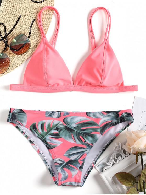 Bikini Cami Con Stampa Foglie Di Palma - Rosa S