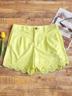 High Waisted Faux Suede Shorts - Light Yellow M