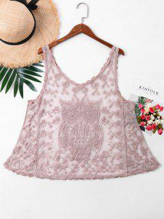 Bordado Sin Mangas Mesh Cover Up Top - Rosa