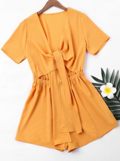 Short Sleeve High Waist Romper - Ginger S