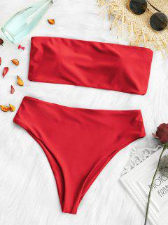 Padded High Cut Bandeau Bikini Set - Red L