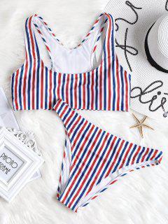 Colorful Striped High Cut Bikini Set - Stripe L
