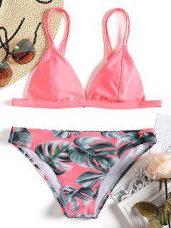 Cami Palm Leaf Print Bikini - Pink L