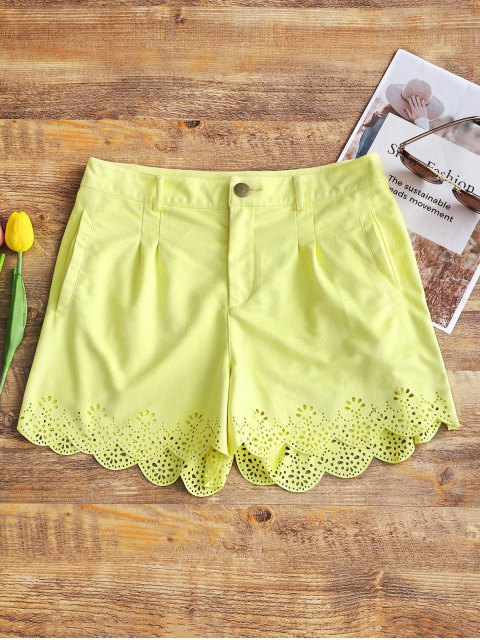 unique High Waisted Faux Suede Shorts - LIGHT YELLOW L Mobile