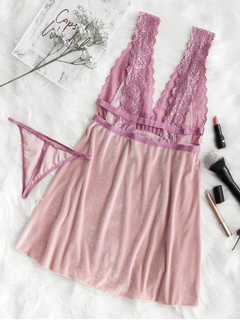outfit Lace Panel Velvet Nightdress - PINK ONE SIZE Mobile