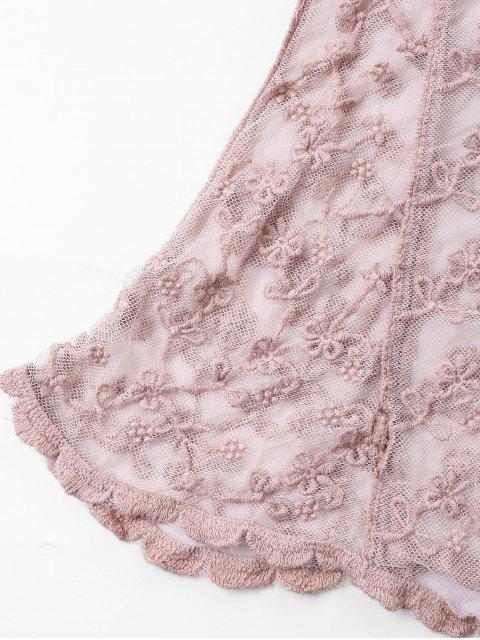 trendy Embroidery Sleeveless Mesh Cover Up Top - PINK ONE SIZE Mobile