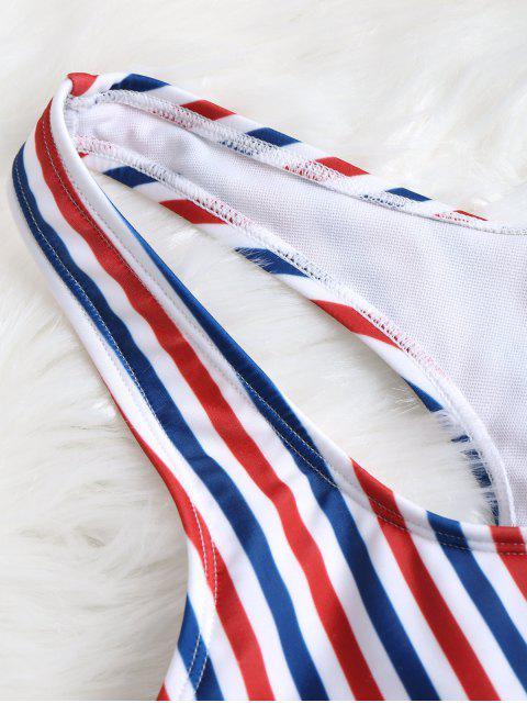 Conjunto de bikini de rayas altas de rayas coloridas - Raya M Mobile