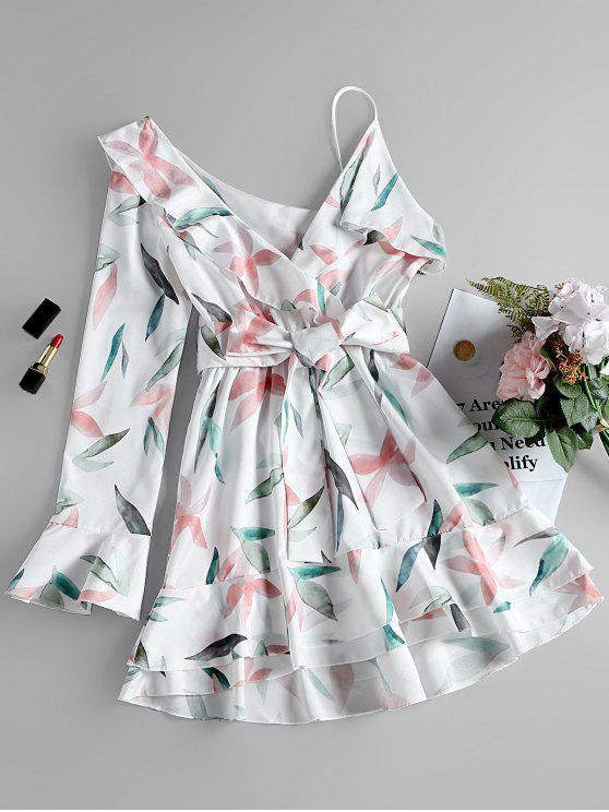 buy One Shoulder Leaf Print A-line Dress - WHITE S