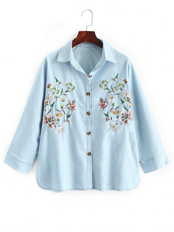 trendy Oversized Embroidered Denim Shirt - DENIM BLUE ONE SIZE