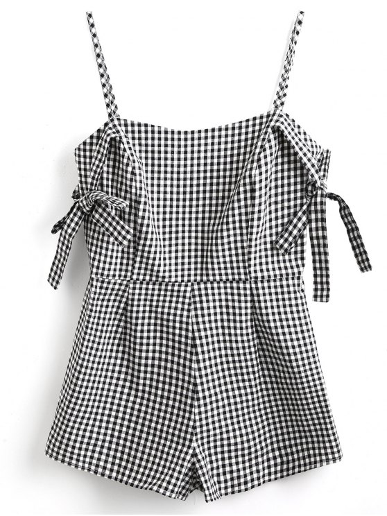 fancy Tie Sleeve Cami Gingham Romper - WHITE AND BLACK S