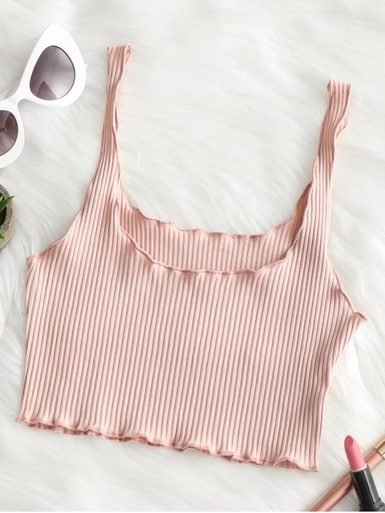 trendy Ribbed Fitted Crop Tank Top - LIGHT PINK ONE SIZE