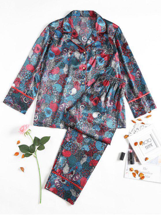 Traje de pijama de satén retro - Azul Marino  XL