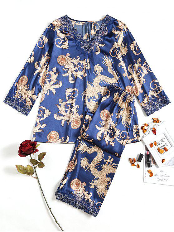 Ensemble De Pyjama Satin Paisley - Royal Taille Unique