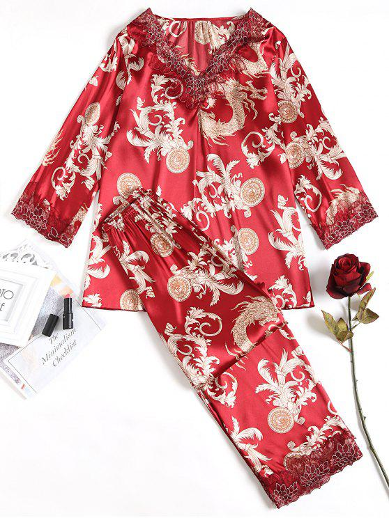 Ensemble De Pyjama Satin Paisley - Rouge vineux  Taille Unique