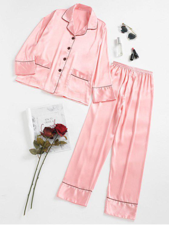 shops Two Piece Satin Sleep Set - PINK M