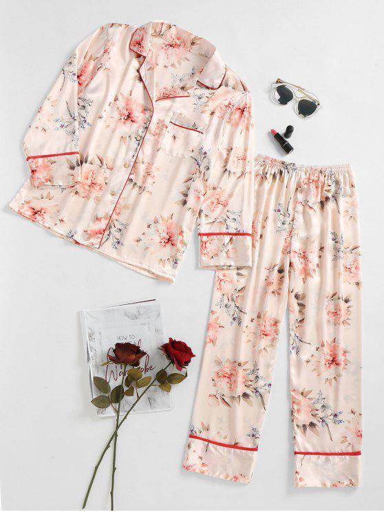 Costume de sommeil en satin à fleurs - RAL1001Beige XL