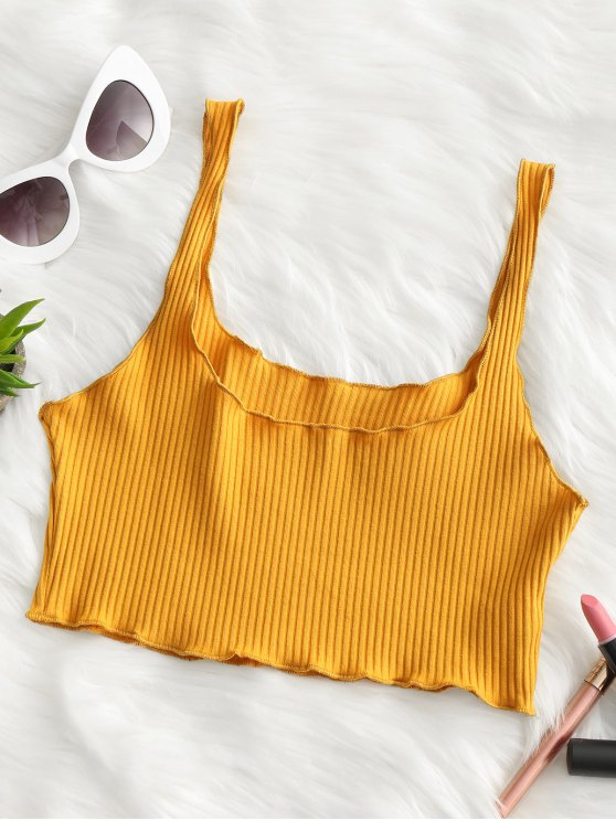 shops Ribbed Fitted Crop Tank Top - MUSTARD ONE SIZE