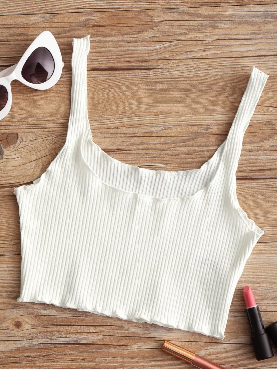 chic Ribbed Fitted Crop Tank Top - WHITE ONE SIZE