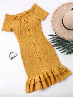Lace Up Drop Waist Wrinkle Dress - Ginger L