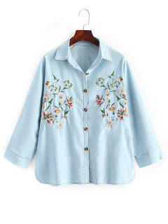 Oversized Embroidered Denim Shirt - Denim Blue