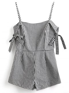 Tie Sleeve Cami Gingham Romper - White And Black S