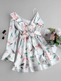 One Shoulder Leaf Print A-line Dress - White Xl