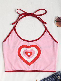 Heart Halter Crop Top - Pink M