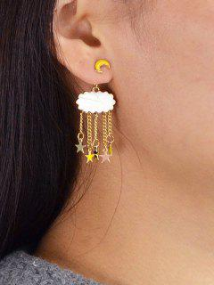 Crescent Cloud Five-pointed Star Embellished Drop Earrings - Yellow