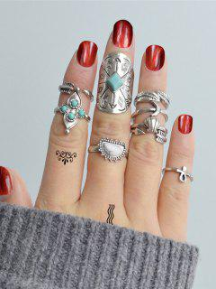 Retro Leaf Moon Faux Turquoise Alloy Ring Set - Silver One-size