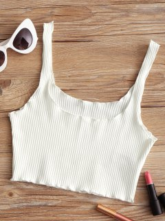 Ribbed Fitted Crop Tank Top - White
