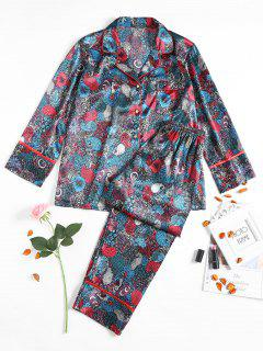 Retro Satin Pajamas Suit - Cadetblue Xl