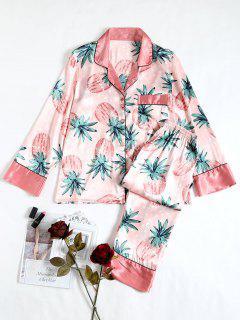 Two Piece Pineapple Satin Sleep Set - Pink L