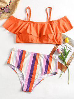 Plus Size Flounce Striped Bikini Set - Orange 2xl