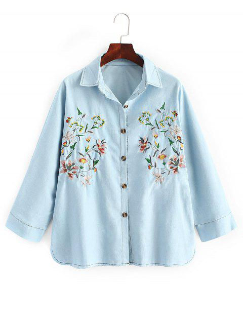 trendy Oversized Embroidered Denim Shirt - DENIM BLUE ONE SIZE Mobile