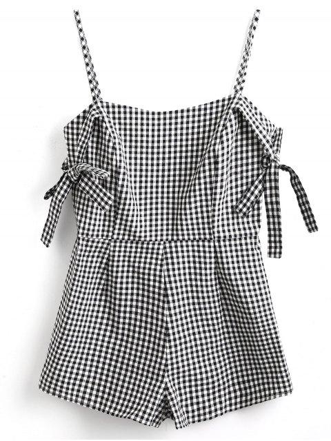 Krawatte Ärmel Cami Gingham Spielanzug - Weiß & Schwarz S Mobile