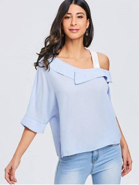 latest Contrasting Shoulder Strap Asymmetric Top - BLUE AND WHITE ONE SIZE Mobile