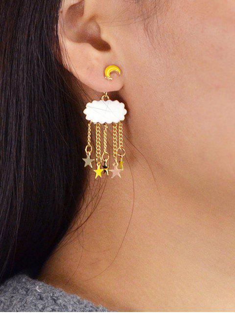 outfits Crescent Cloud Five-pointed Star Embellished Drop Earrings - YELLOW  Mobile