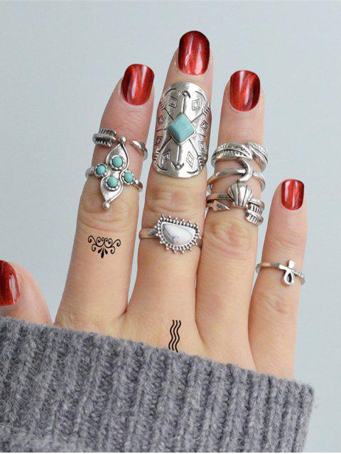 Retro Blatt Mond Faux Türkis Legierung Ringe Set - Silber Einheitsgröße Mobile