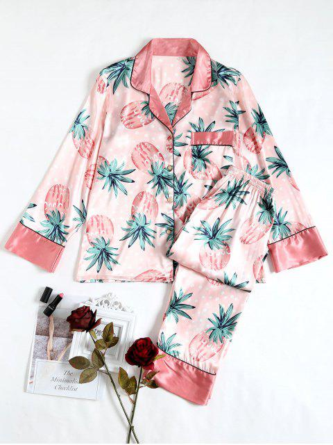 outfits Two Piece Pineapple Satin Sleep Set - PINK XL Mobile