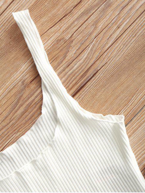 Camiseta de tirantes sin mangas acanalada - Blanco Talla única Mobile