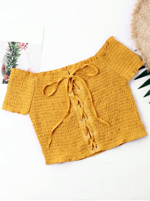 latest Lace Up Wrinkle Crop Blouse - GINGER XL Mobile