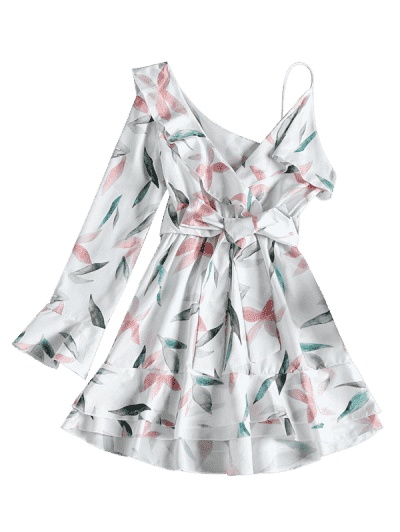 One Shoulder Leaf Print A-line Dress