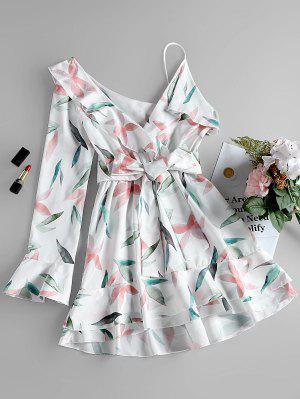 One Shoulder Leaf Print Vestido De Uma Linha - Branco S